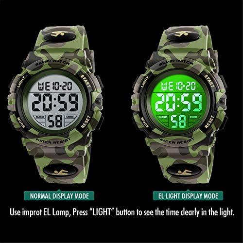 キッズデジタル腕時計 ボーイズスポーツ防水LED腕時計 迷彩柄腕時計 アラーム付き 男の子 女の子 子供用