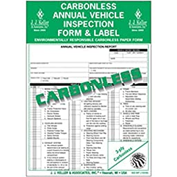J.J. Keller - Carbonless Annual Vehicle Inspection Report with Label, pack of 10