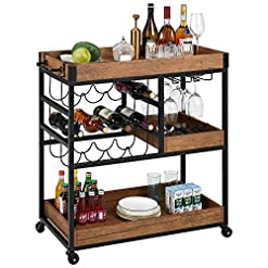 Home Bar Cabinetry kealive Bar Serving Cart for Home, Mobile Bar Cart with Lockable Wheels Handle Rack, Industrial Vintage Style Wood Metal… home bar cabinetry
