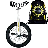Qu-Ax Unicycles 16'' Luxus Kid's Trainer Unicycle In White For Kids + Young Adults + Flames N' Games Travel Bag!