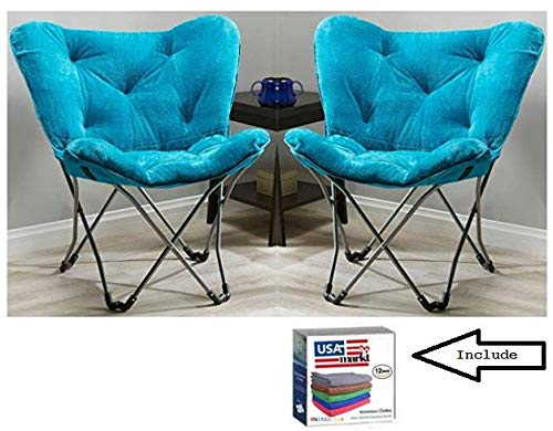 Pack of 2 Teal Mainstay Butterfly Chair Plus a Dozen Microfiber Cloths Pack of 2, Teal Faux Fur
