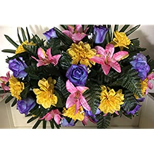 Spring Cemetery Flowers for Headstone and Grave Decoration-Pink Yellow and Blue/Purple Mix Saddle 10