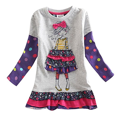 [Novatx Wave Point Cotton Long Sleeve Baby Girl Clothes H3660 Cream and Grey (4/5y, grey)] (China Costume For Girls)