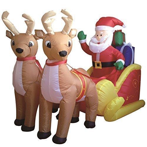 1,8 M Santa Zwei Rentier Schlitten Selbst Aufblasende Inflatable Elektrisch Zum Aufblasen Riese Groß Draußen Garten Weihnachten Weihnachten Figur Statue