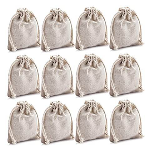 MIAOMIAO [set of 12] reusable cotton double drawstring Bags, Machine Washable gift bags, Natural Linen Pouches for Gift Packaging, Perfect for Wedding, and Other - Pouch Gift Set
