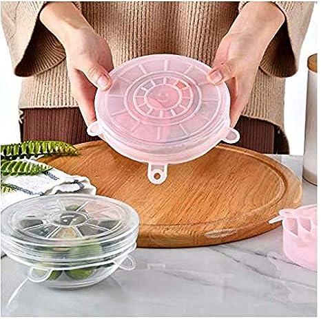 LINSUNG Tapa el/ástica de silicona 6 paquetes de varios tama?os tapa de conservaci/ón de alimentos el/ástica flexible y duradera transparente