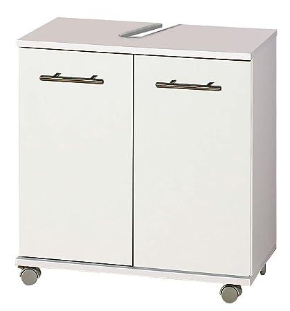 Mueble para fregadero de acabado en blanco con ruedas, 2 puertas y 1 estante,