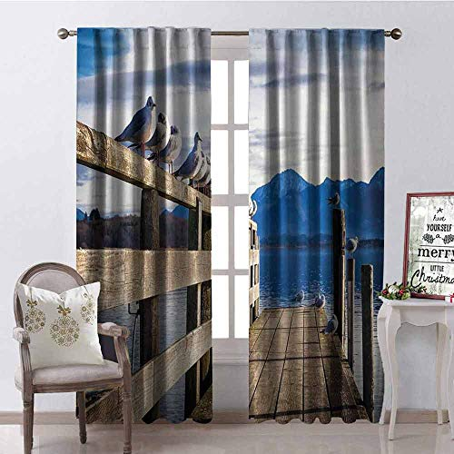 GloriaJohnson Landscape Heat Insulation Curtain Seagulls on Old Wooden Jetty Lakeside Hills in Bavaria Landscape Picture for Living Room or Bedroom W52 x L63 Inch Blue Tan - Spanish Bedroom Collection Hills