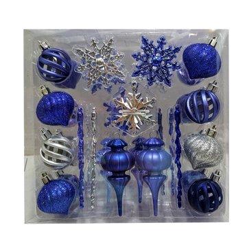Mini decoraciones de Navidad 36 azul, plata, morado bolas
