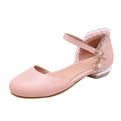 YE Damen Geschlossene Sandalen Pumps Flacher Absatz mit Riemchen Bequem Freizeit Schuhe