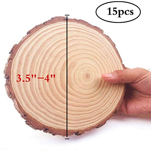 "MUPIANLX Natural Wood Slices with Tree Bark Unfinished Round Wooden Discs for Crafts Coasters DIY Ornaments,15pcs 3.5""-4"""