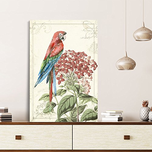 Vintage Style Colorful Parrot on Floral Background