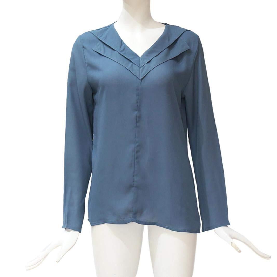 Beladla Camisas Mujer Manga Larga Blusa Gasa para Dama Camisas De Mujer Blusones Largas Juveniles Top Cuello En V Boton Tops Camisa Fiesta Elegantes Anchas: ...