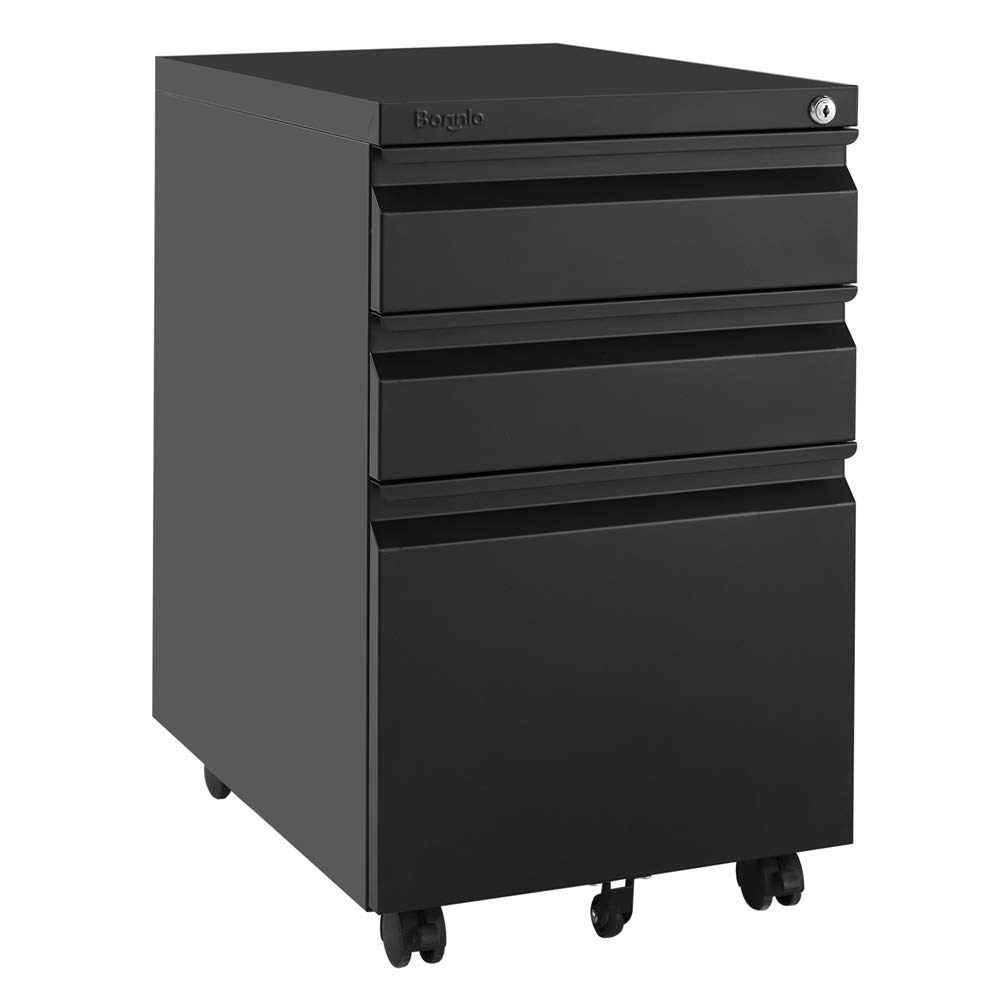 Bonnlo 3-Drawer Mobile File Cabinet with Lock Under Desk Office Drawers Fully Assembled Except Casters,Black by Bonnlo