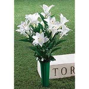 "OakRidge Easter Lily Memorial Bouquet Silk Floral Indoor/Outdoor Décor, 23"" High 2"