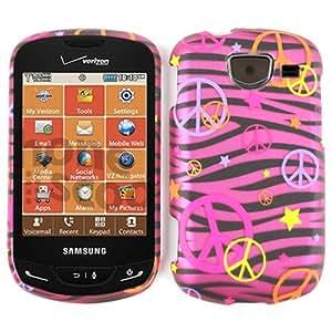 For Samsung Brightside U380 Case Cover - Peace Signs Pink Zebra Stars Rubberized Pink Yellow Orange Purple TE322-S