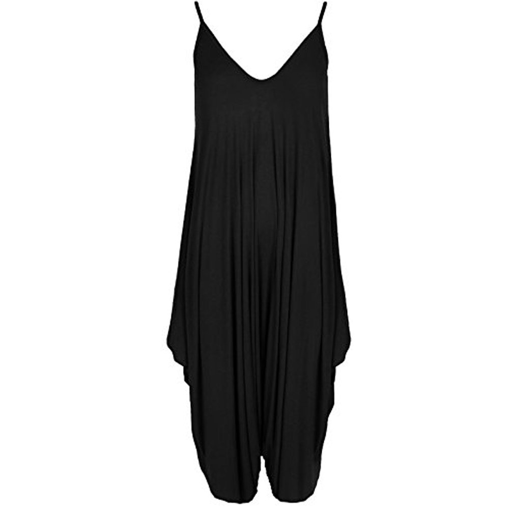 4c2554950e7 Re Tech UK Ladies Baggy Harem Jumpsuit Romper Sleeveless All in One V-Neck  Cami Playsuit  Amazon.co.uk  Clothing