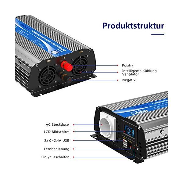 51G22mtyf1L 2000W Modifizierter Welle Wechselrichter 12v auf 230v Spannungswandler Umwandler-Inverter Konverter mit Fernbedienung…