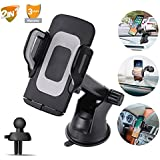 Phone Holder for Car,Upgrade Car Phone Mount for Universal 2.4-3.6 Inch Cell Phones,Windshield Dashboard Car Holder Adjustable Portable Accessories for iPhone/Galaxy Note/Google,LG and More By Pipigo