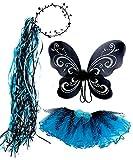 Monster High Inspired Girls Fairy Costume Royal Blue & Black Zebra