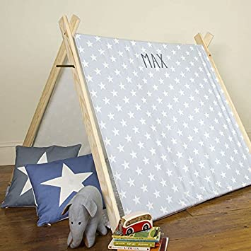 Personalised Childrenu0027s Play Tent - Grey Star - Designed Printed u0026 Handmade in ... & Personalised Childrenu0027s Play Tent - Grey Star - Designed Printed ...
