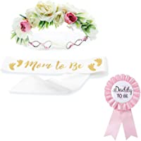 Baby Shower Mom Sash & Flower Crown & Daddy to be Button Pin Kit - Baby Girl Sash Princess Baby Shower Baby Sprinkle (White & Gold)