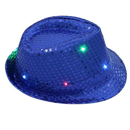 - DishyKooker Women Men LED Fedora Hats Flashing Led Novelty Hats for Adults Jazz Fedoras Dance Hat Royal Blue Adult Section 9 Lanterns