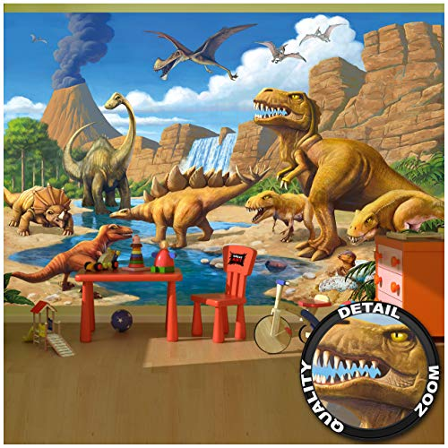 Children's Room Wall Mural Wallpaper - Childrens Room Dinosaur Adventure - Decoration Dino World Comic Style Poster Vulcano Prehistoric Animals Waterfall (132.3 x 93.7 Inch / 336 x 238 cm) (Best Wallpaper In The World Ever)