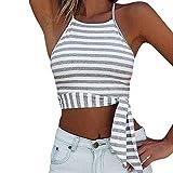 Elogoog Clearance! Womens Sexy Stripe Printed Sleeveless Halterneck Tank Crop Tops Bowknot Vest Mini T Shirt (XL, Gray)