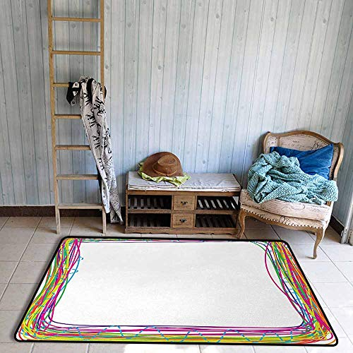 - Bedroom Floor Rug Doodle Lively Colored Square Frame with Hand Drawn Style Funky Rainbow and Grunge Lines Durable W59 xL71 Multicolor