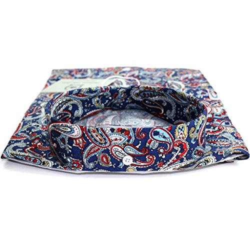 Relco Men's Shirt à manches longues Motif cachemire Bleu marine/bouton Satin 100%  en coton pour homme