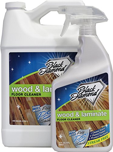 Black Diamond Wood & Laminate Floor Cleaner: For Hardwood, Real, Natural & Engineered Flooring –Biodegradable Safe for Cleaning All Floors (1 Quart-1 Gallon)