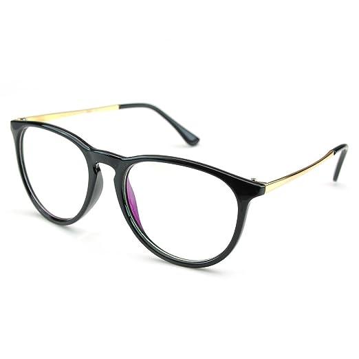 69d1e4b71a PenSee Womens Fashion Oversized Clear Lens Round Circle Eye Glasses (Black)
