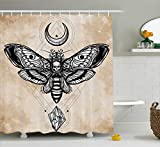 Ambesonne Fantasy Shower Curtain, Dead Head Hawk Moth with Luna and Stone Ancient Magic Skull Illustration, Cloth Fabric Bathroom Decor Set with Hooks, 70 Inches, White Black