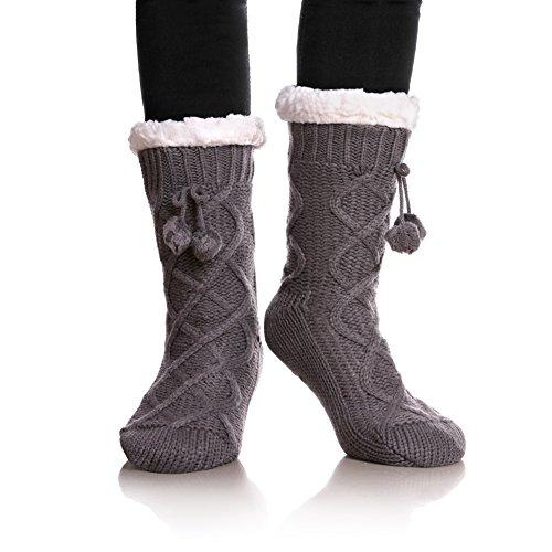 YEBING Women's Cable Knit Super Soft Warm Cozy Fuzzy Fleece-lined Winter Slipper Socks (Gray) (Plus Lined Size Stockings)