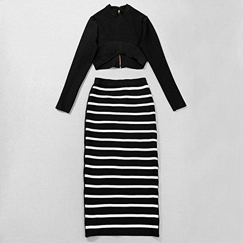 Sleeve Zebra Hlbandage 2 Long Negro Midi Hole Stripes Bandage Dress Piece axatTXqS