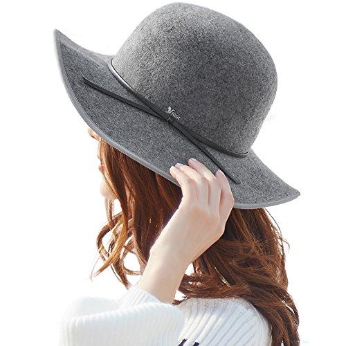 100% Wool Felt Floppy Fedora Hat for Women Wide Brim Derby Tea Party Hat Winter Grey - Hat Brim Wide Felt