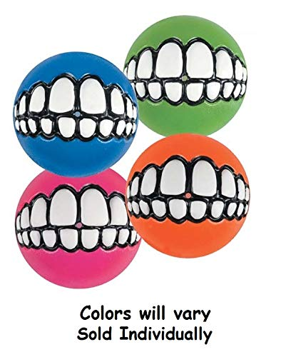 Grinz Balls for Dogs Funny Grinning Toy Smiling Teeth Rubber One Hollow Ball (Large - 3
