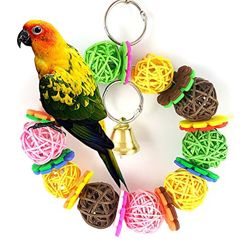Newstrength Bird Chewing Toys,Colorful Parrot Toy Vine Rattan Ball Ring Bird Parakeet Hanging Pet Cage Decor Random Color