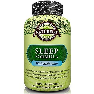 NATURELO Sleep Formula - with Valerian, Chamomile, Passion Flower, Lemon Balm, Hops & Melatonin - Best Natural Sleeping Aid - Fast Dissolve - 120 Capsules