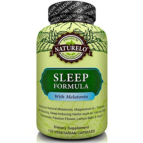 NATURELO Sleep Formula - with Valerian, Chamomile, Passion Flower, Lemon Balm, Hops & Melatonin - Best Natural Sleeping Aid - Fast Dissolve - 120 (Hops Flowers 100 Capsules)