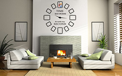 Family Photo Frames Clock Wall Decal- Trendy Series - Vinyl Wall Decal For Home Bedroom Loft (AM) (Wide 22