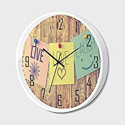 SfeatrutMAT Wall Clock Silent Non-Ticking Decorative Round Quartz,Live Laugh Love Decor,Inspirational Wisdom Post It Perks on Wooden Rustic Background Image Decorative,for Office,Bedroom,10inch