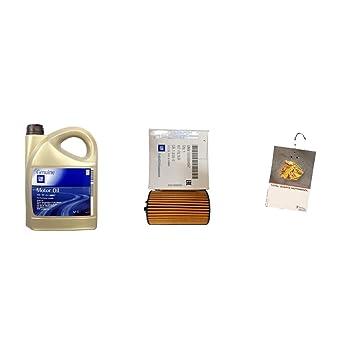 Juego de cambio de aceite de 5 litros de aceite original 5w30 Dexos2 y filtro de aceite original.: Amazon.es: Coche y moto