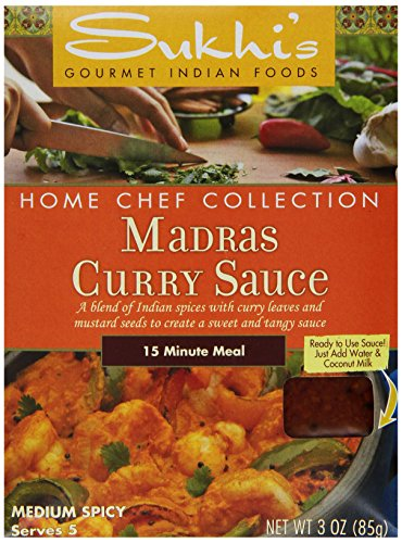 Sukhi's Madras Curry Sauce, 3-Ounce Packets  (Pack of 6) (Madras Curry Sauce)