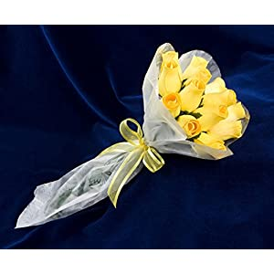 """Baker's Dozen"" Bouquet of 13 Yellow Wood Roses 2"