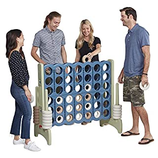 ECR4Kids Jumbo 4-to-Score Giant Game Set, Backyard Games for Kids, Indoor/Outdoor Connect-All-4, Adult and Family Fun Game, 43 Inches Tall - Earthtone (Game Only)