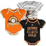 Baltimore Orioles Newborn Baby GIRLS Triple Play 3-pk Bodysuit Creeper Set