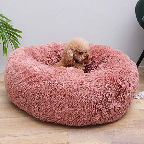 EUGU Fur Round Donut Cat Dog Beds Ultra Soft Plush Pet Cushion,Self-Warming Plush Cushion Bed for Puppy Dogs Cats…