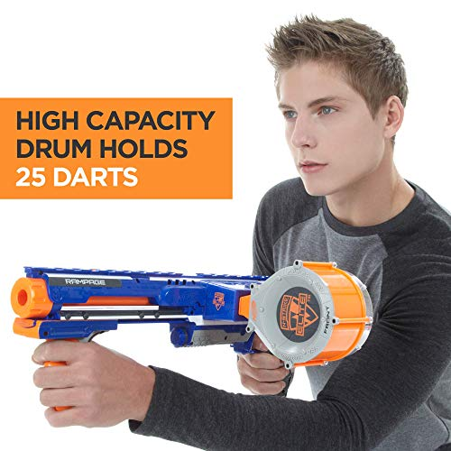 51G24rUzzeL - Nerf Rampage N-Strike Elite Toy Blaster with 25 Dart Drum Slam Fire and 25 Official Elite Foam Darts For Kids, Teens, and Adults